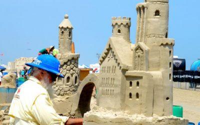 Bewonder zandsculpturen tijdens het Texas Sandfest